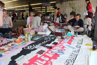 London Stitch-In: Sunday 10th April at Kings Cross station by Flickr user craftivist collective