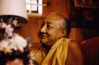 Dilgo Khyentse Rinpoche reflecting with a smile, at the Sakya Center དིལ་མགོ་མཁྱེན་བརྩེ་, Seattle, Washington, USA by Flickr user Wonderlane