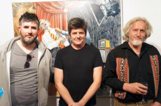 Jasper Knight, Hadyn Wilson & Craig Handley with Craig's painting, 'That's Entertainment' by Flickr user Mosman Council