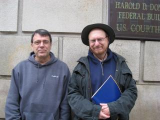 Ken and Scott after their hearing by Flickr user mike.benedetti