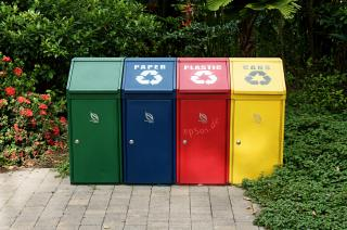Trash Recycling with Disposal Containers by Flickr user epSos.de