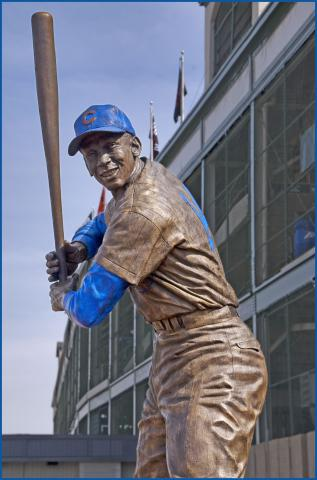 """Ernie Banks, """"Mr. Cub"""" -- Wrigley Field Chicago (IL) April 2012 by Flickr user Ron Cogswell"""