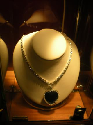 The Heart of the Ocean diamond necklace, as worn by Kate Winslet in Titanic by Flickr user Ben Sutherland